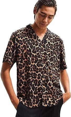 Hombre Paisley Camisa Hawaiana Los Modernas Verano Casual Hombre De Leopardo De La Solapa Informal Camisa De Manga Corta Blusa Superior De Manera De Las Tapas Acogedor Básico Tops Ropa: Amazon.es: Ropa