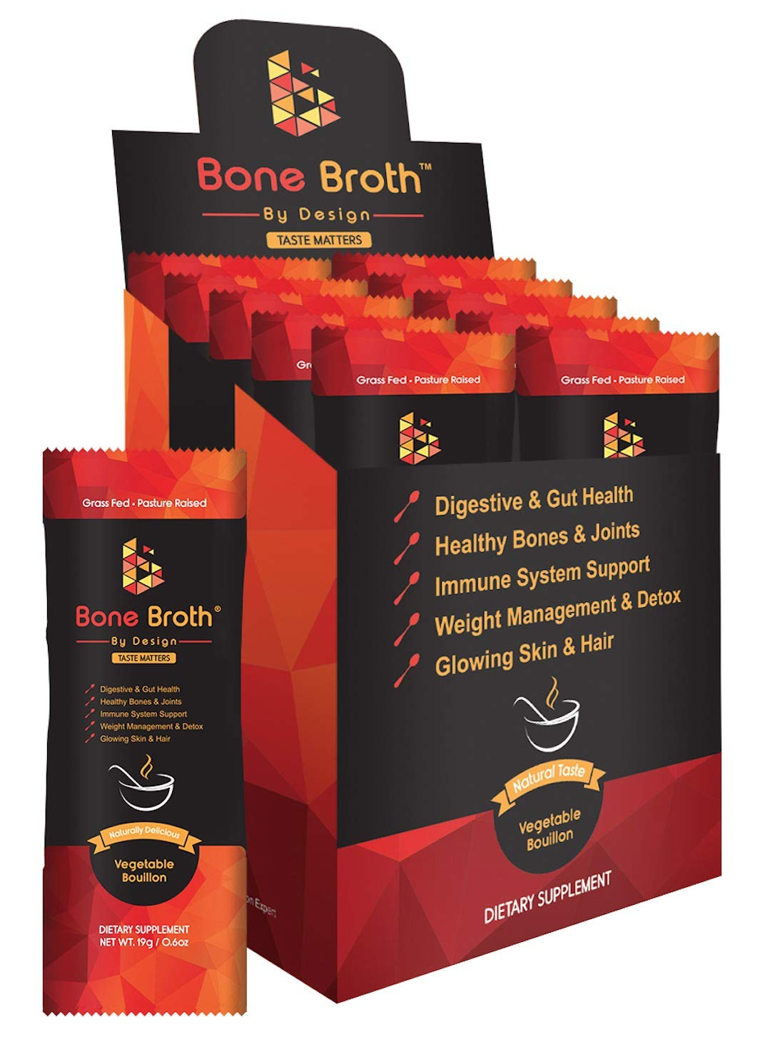 Bone Broth Grass Fed Beef • 10 Sachets • Vegetable Bouillon Natural Flavor • Paleo • Ketogenic with MCT Oil • Non GMO • Broth by Design by Broth by Design