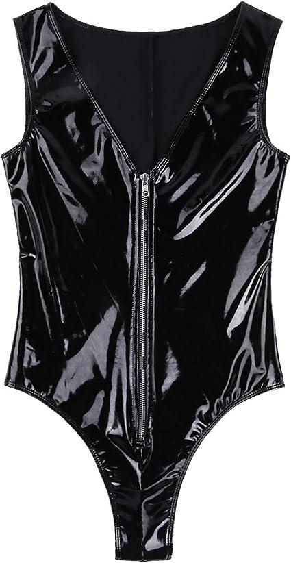 ranrann Womens Metallic Shiny Patent Leather Mesh Splice Zipper Front Teddy Thong Leotard Bodysuit