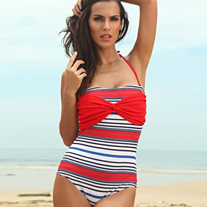 Charming Sunkini Fashion Woman Swimwear Sexy Red White Blue Stripe Padded Cut Out  Swimsuit For Ladies Swimming