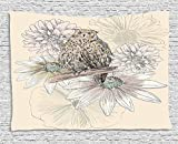 asddcdfdd Owl Decor Tapestry, Sketch Animal on Branch with Peonies Daisies Carnations Natural, Wall Hanging for Bedroom Living Room Dorm, 80WX60L Inches, Sand Brown Light Pink Grey