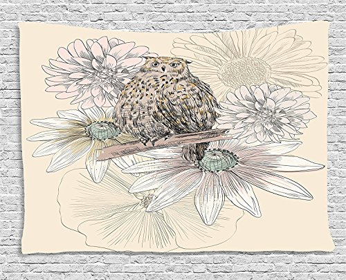 asddcdfdd Owl Decor Tapestry, Sketch Animal on Branch with Peonies Daisies Carnations Natural, Wall Hanging for Bedroom Living Room Dorm, 80WX60L Inches, Sand Brown Light Pink Grey by asddcdfdd