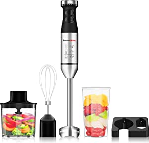 Immersion Hand Blender, 225W 9-Speed Stainless Steel Electric Handheld Blender Set with Wall Mounted Bracket, Measuring Mug, Food Grinder Bowl, Egg Whisk for Infant Food, Smoothies, Sauces, Soups