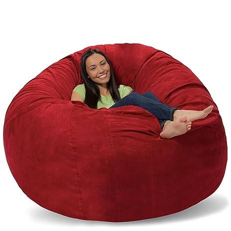 Comfy Sacks Huge Pillow Memory Foam Bean Bag Chair New York Red Pebble