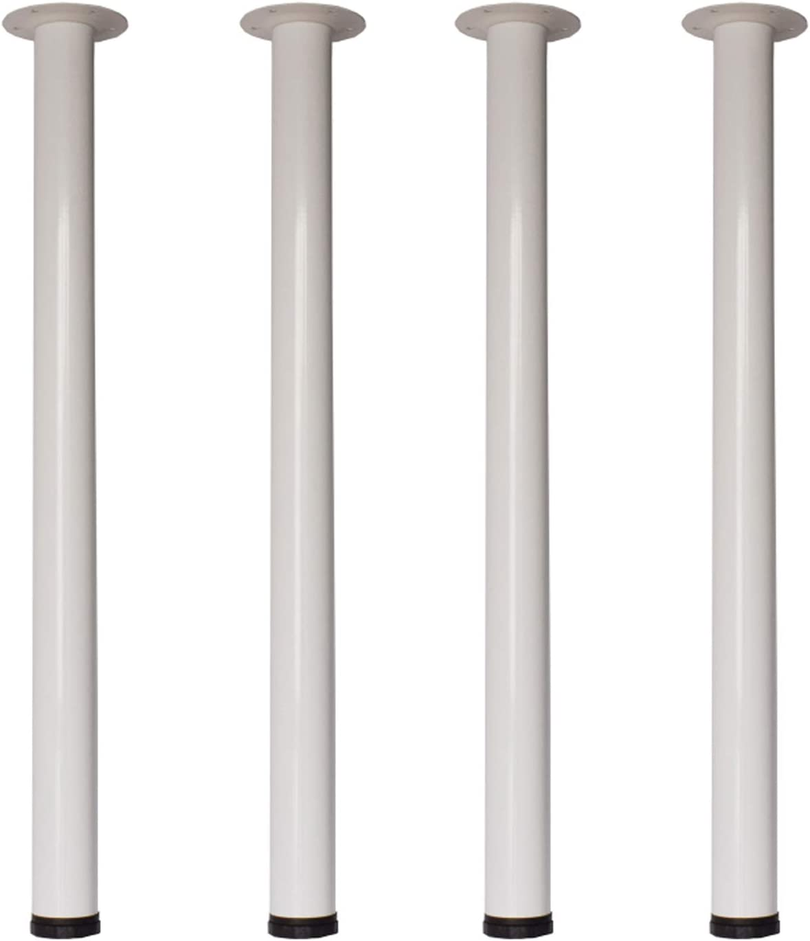 28 Inch Height Furniture Legs,Home Office Metal Heavy Duty, Mid Century Adjustable Modern Durable Iron Legs for Computer Desk,Coffee Table,Kitchen Table(Set of 4)-White