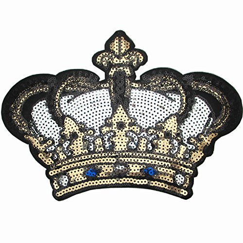 Dandan DIY Big Crown Embroidered Patch with Sequins Sew on/Iron on Patch Applique Clothes Curtain Sewing Flowers Applique Home Wedding Party Decoration Diy Accessory(Crown) Embroidered Sequin Applique