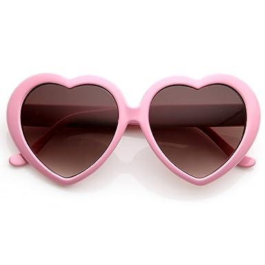 ac686fe3f9 zeroUV - Large Oversized Womens Heart Shaped Sunglasses Cute Love Fashion  Eyewear (Light Pink)