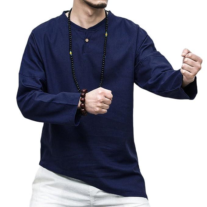 GHGJU Camiseta De Manga Larga Para Hombres Blusa De Tirantes Casual Top De Algodón Estilo Chino