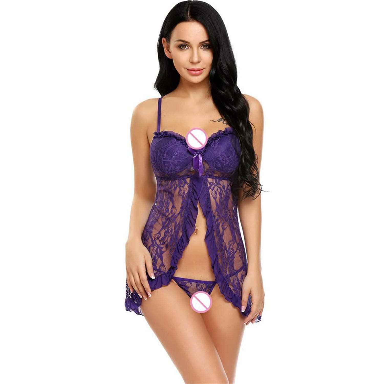 aec888d2df4 Amazon.com: Teddy Underwear Lace Babydoll, Women Sleepwear Lace Pajamas Set  Strap Camisole Short Sets Lingerie Nightwear Babydoll Nightie Dark Red:  Clothing
