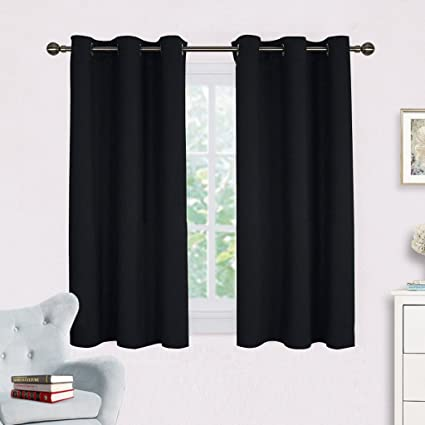 Living Room Blackout Curtains And Drapes   NICETOWN Black Solid Thermal  Insulated Grommet Blackout Drapery Panels
