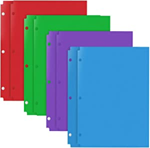 INFUN Plastic Pocket Folders - 8Pack,Assorted Colors Plastic Folders with 3 Holes Punched, 2 Pocket Plastic folders for School, Home, and Office