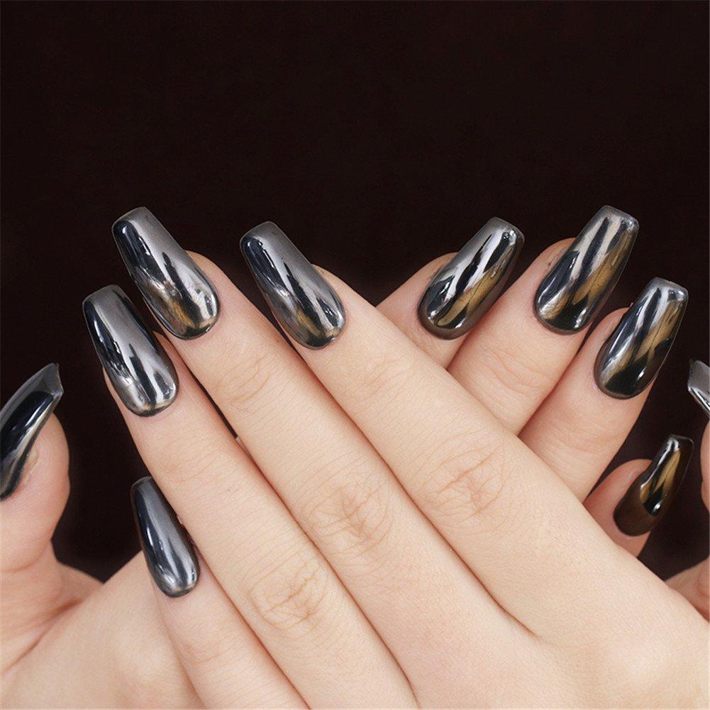 coulorbuttons 1 caja espejo negro brillante de polvo de uñas manicura uñas arte pigmento purpurina polvo: Amazon.es: Hogar