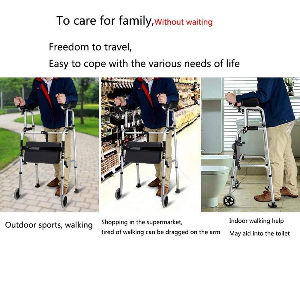 Walking Frame with Wheels Narrow, Portable Bag Lockable Brake Adjustable Height Auxiliary Walking Safety Walker (Color : with Brakes) by YL WALKER (Image #6)