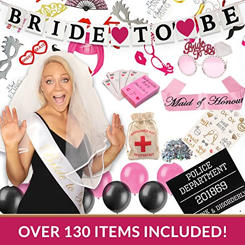 COMPLETE BACHELORETTE PARTY KIT | Bachelorette Bride Sash, 'Bride to Be' Banner, Maid of Honour Sash, Veil/Comb, Bride Tribe Tattoos, Pack of Dare Cards, Photo Booth Props, Mugshot and - Picture Put Sunglasses On
