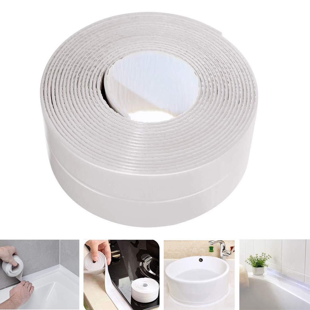 Caulk Strip LIKEGOR Flexible Self Adhesive Sealing Tape Waterproof for Kitchen Bathroom Tub Shower Floor Wall Seam (White, 126x1.5 Inches)