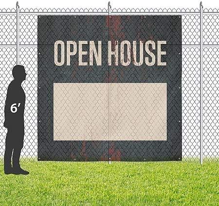 8x8 Ghost Aged Rust Wind-Resistant Outdoor Mesh Vinyl Banner CGSignLab Open House