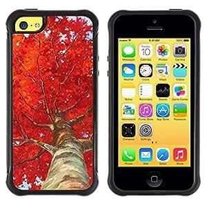 LASTONE PHONE CASE / Suave Silicona Caso Carcasa de Caucho Funda para Apple Iphone 5C / Tree Birch Red Leaves Nature