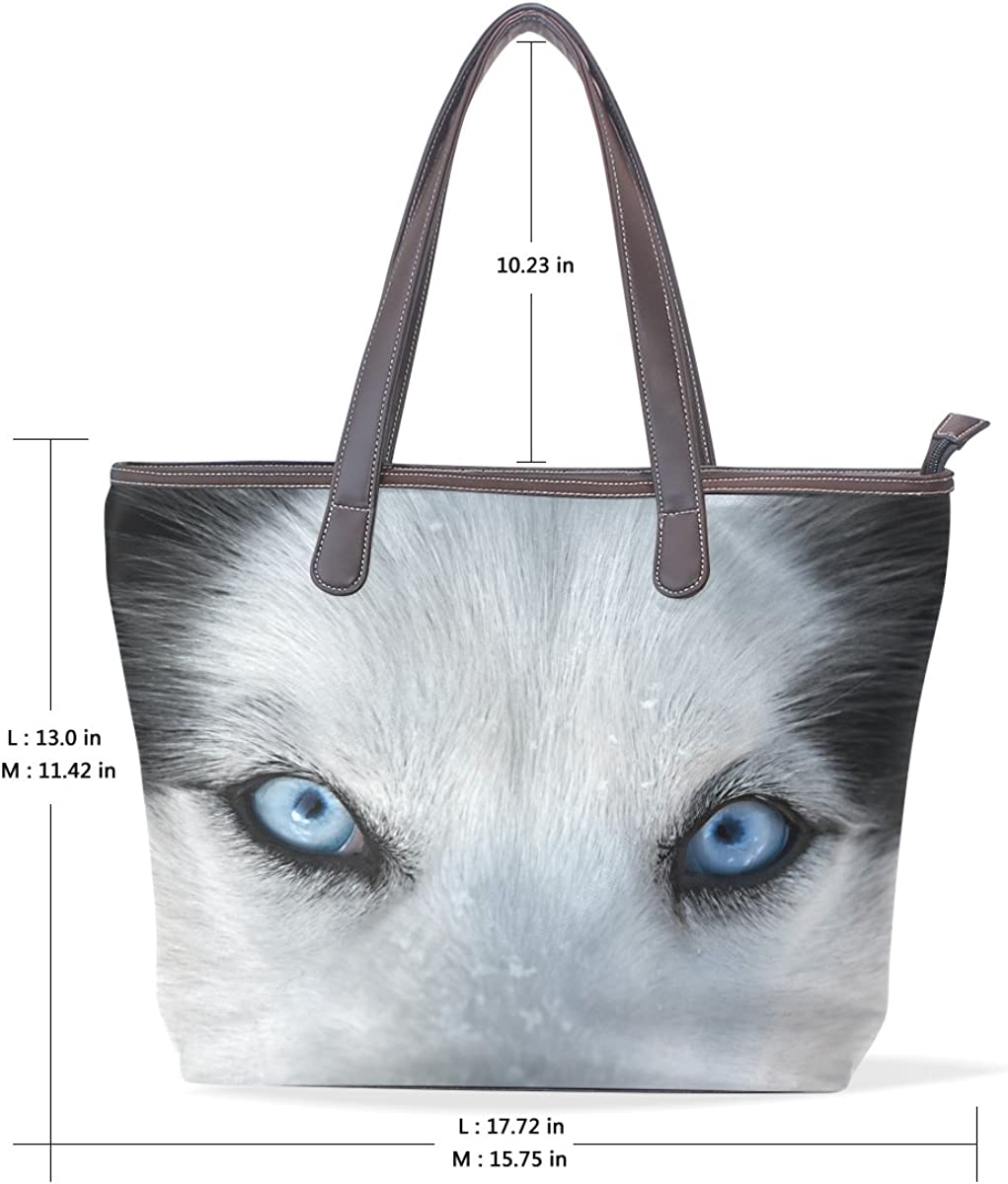 Wolf Blue Eyes Pattern imobaby PU Leather Tote Bag for Travel and Shopping