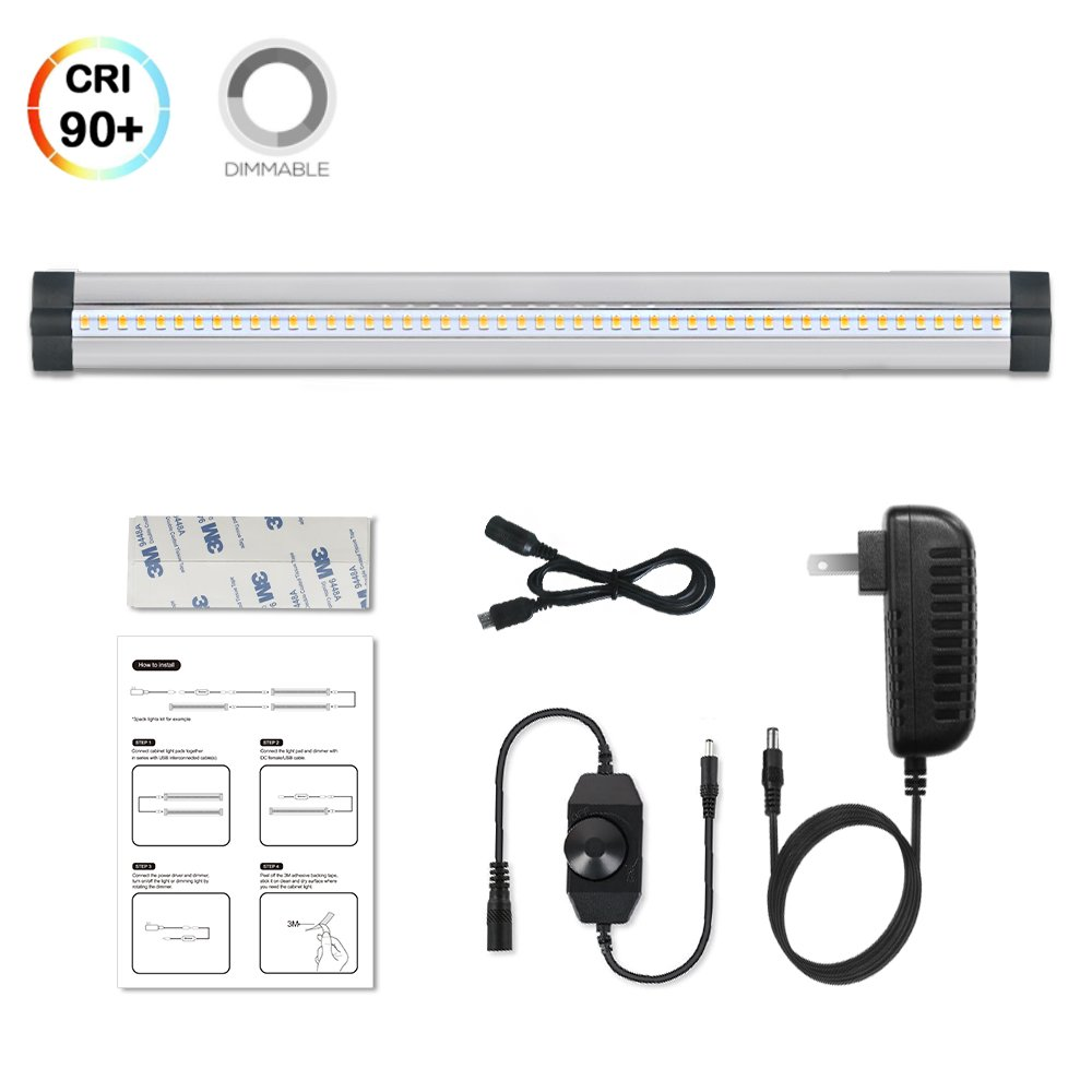 1 Pack LED Under Cabinet Lighting Dimmable Warm White, 5W 300LM CRI90, All Accessories Included