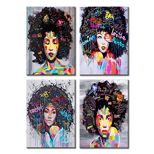 """VIIVEI African American Girl Canvas Wall Art Colorful Home Decor Graffiti Abstract Style Poster Prints Painting Women Pictures for Living Room Bedroom Framed Ready to Hang (12""""x16""""x4Pcs, 1)"""