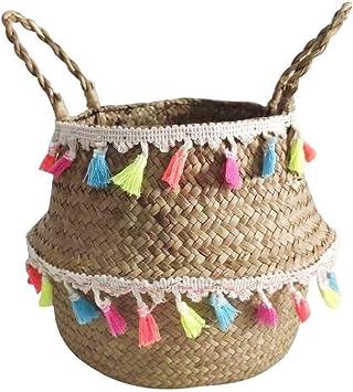Pot de fleurs pliable rose fait /à la main en osier naturel pour la maison Rangement de jouets la salle de bain Panier de rangement tiss/é la chambre /à coucher