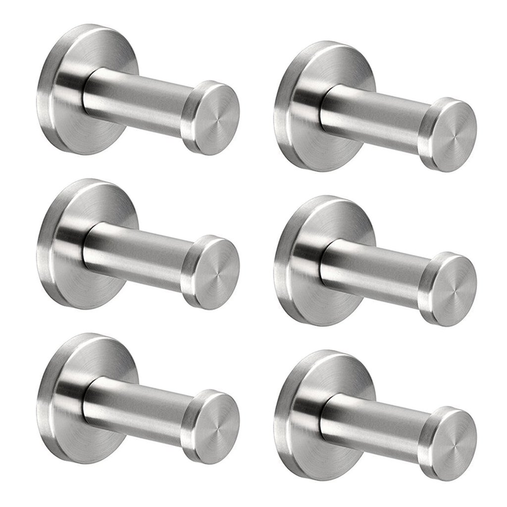 Stainless Steel Wall-Mount Robe Hook Coat Hook Towel Hook for Bathroom, Lavatory,Bedroom,Kitchen - Brushed Nickel (2 Inch, 6 Pcs) Vonker