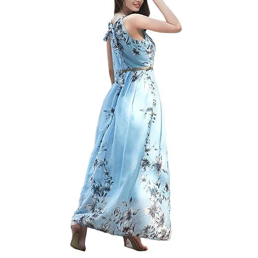 Zhuhaixmy Damen Chiffon A-Linie Kleid Drucken Strand Ärmellos Maxi Sundress  Gefüttert mit Gürtel: Amazon.de: Bekleidung