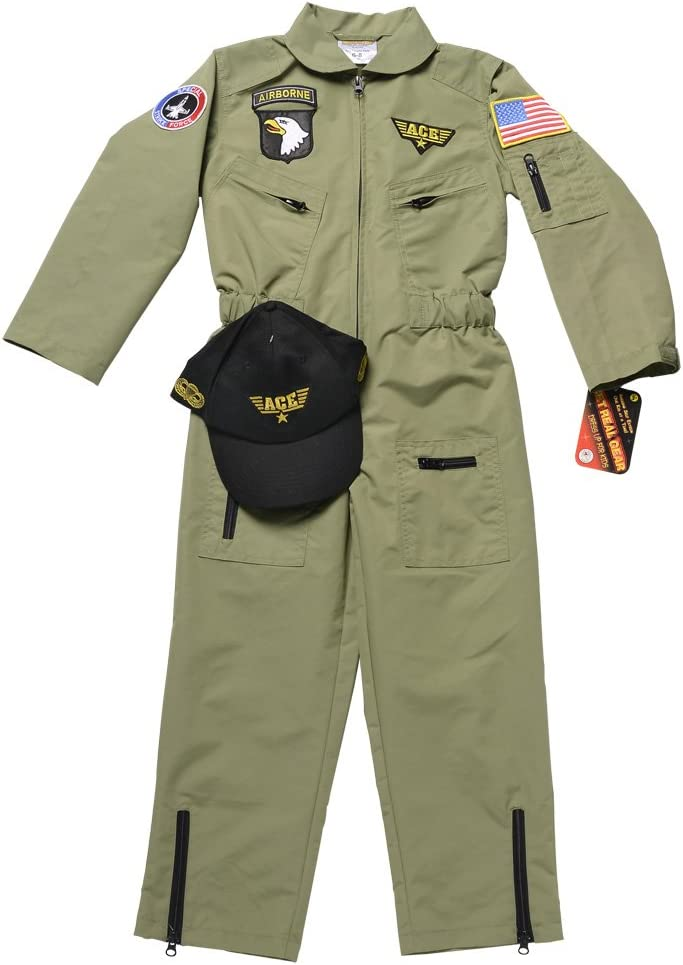 Aeromax Jr Size 4//6. Fighter Pilot Suit with Embroidered Cap