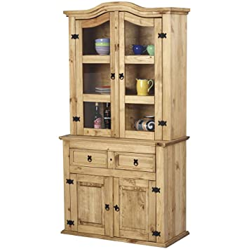 Pine Dresser Sideboard Glass Display Cabinet 2 drawer 2 door Corona *New*  sc 1 st  Amazon UK & Pine Dresser Sideboard Glass Display Cabinet 2 drawer 2 door ...
