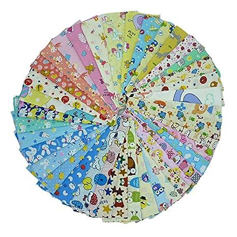 40 piezas de 20 cm x 25 cm tela de algodón estampado de dibujos animados,telas para hacer patchwork, telas tilda, retales de telas, tela algodon por ...