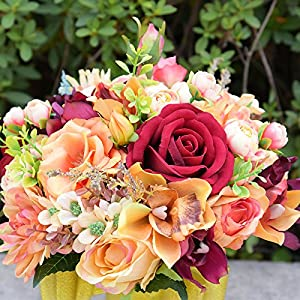 Abbie Home Bridal Wedding Bouquet - Red Rose Champagne Blush Rose Peony Bride Flowers for Autumn 4