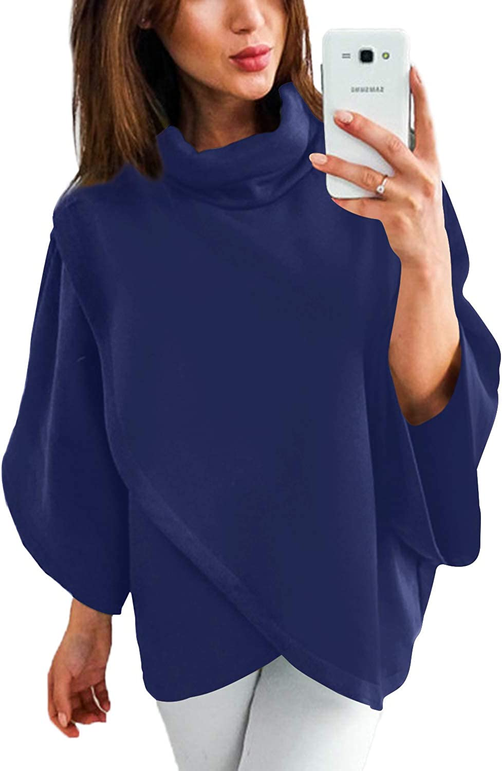 YOINS Outwear Capes Turtleneck Poncho for Women Chimney Collar Flared 3/4 Sleeves Irregular Hem Pullover Sweaters Navy Medium
