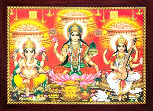 (Handicraft Store Lakshmi Sitting in Flower of Lotus and Showering Money & Prosperity with Ganesha and Saraswati, Must for Good Occasion and Purpose.)