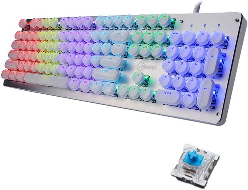 Color : Silver Mechanical Gaming Keyboard,Blue Switch Crystal Keycaps 11 Kinds of Backlit Metal Ergonomic Multimedia Wired USB Keyboard for PC Computer Office Keyboard Portable Gaming Keyboard