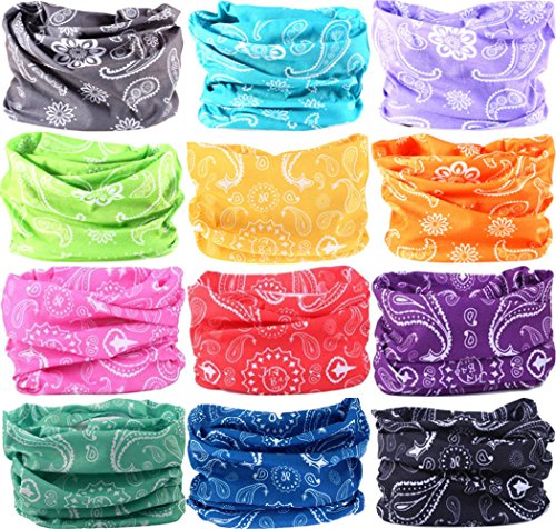 VANCROWN Headband Head Wrap Headwear Sport Sweatband 280 Patterns 12 in 1 Magic Scarf 12PCS 9PCS & 6PCS (12PCS.Paisley)