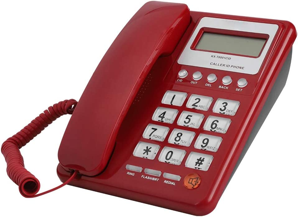 Eboxer Red Corded Telephone with LCD Display, Desktop Phone for Home Office School