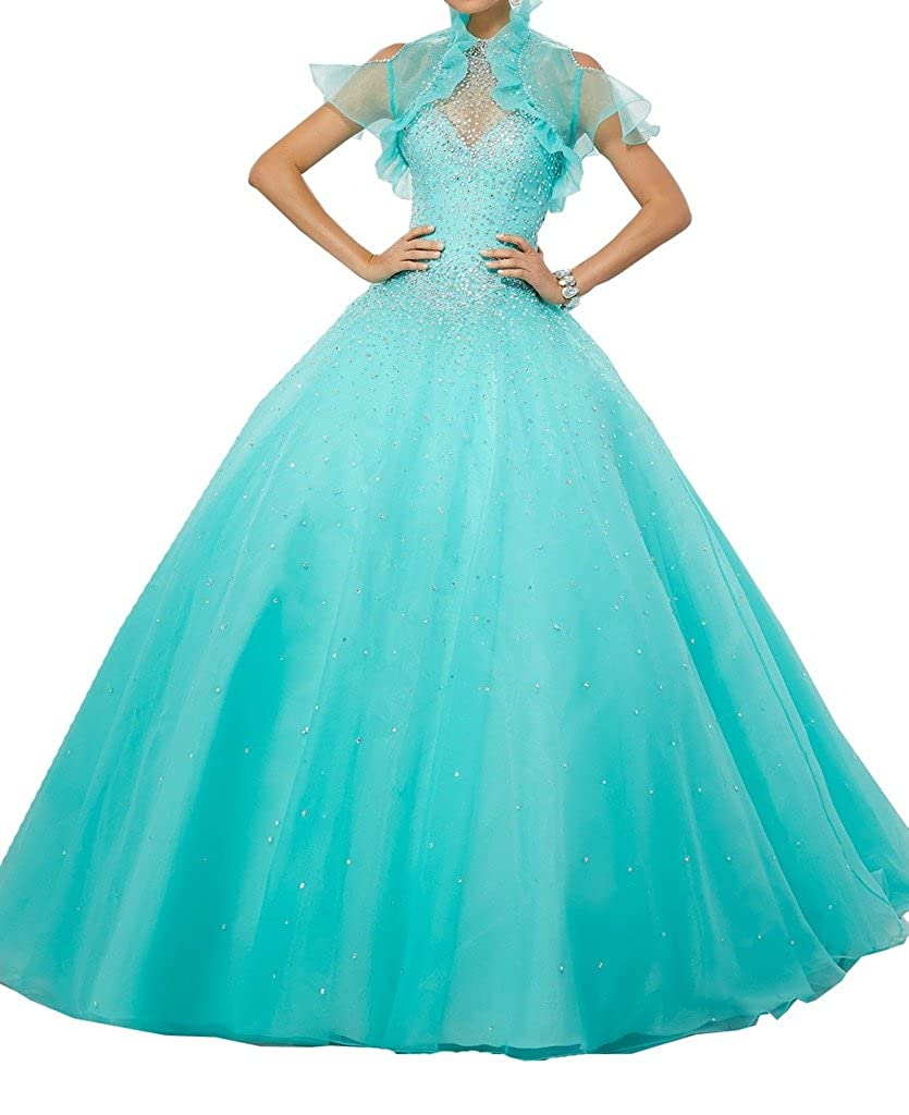 bluee PuTao Women's High Halter Sheer Neck Crystal Girls 16 Birthday Party Quinceañera Dresses