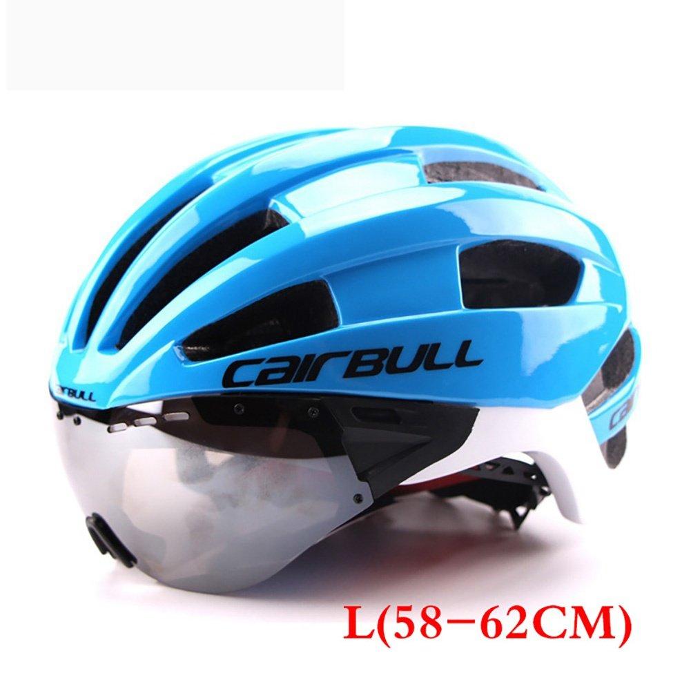 TOUK Männer/Frauen Erwachsene Fahrradhelm Racing Zeitfahrhelm Mit Brille Ultraleicht EPS + PC M L 54-62 cm Fahrrad Objektiv Helme, M