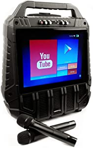 """WiFiOke -Rechargeable 14"""" Touchscreen Wifi Streaming All-In-One Karaoke Machine with 2 Professional Wireless Microphones"""
