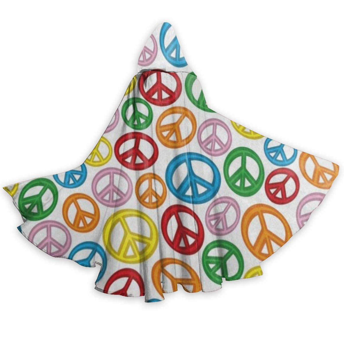 YETSH Hooded Cloak Long Cape Colorful Peace Sign for Adults Halloween Cosplay Costumes