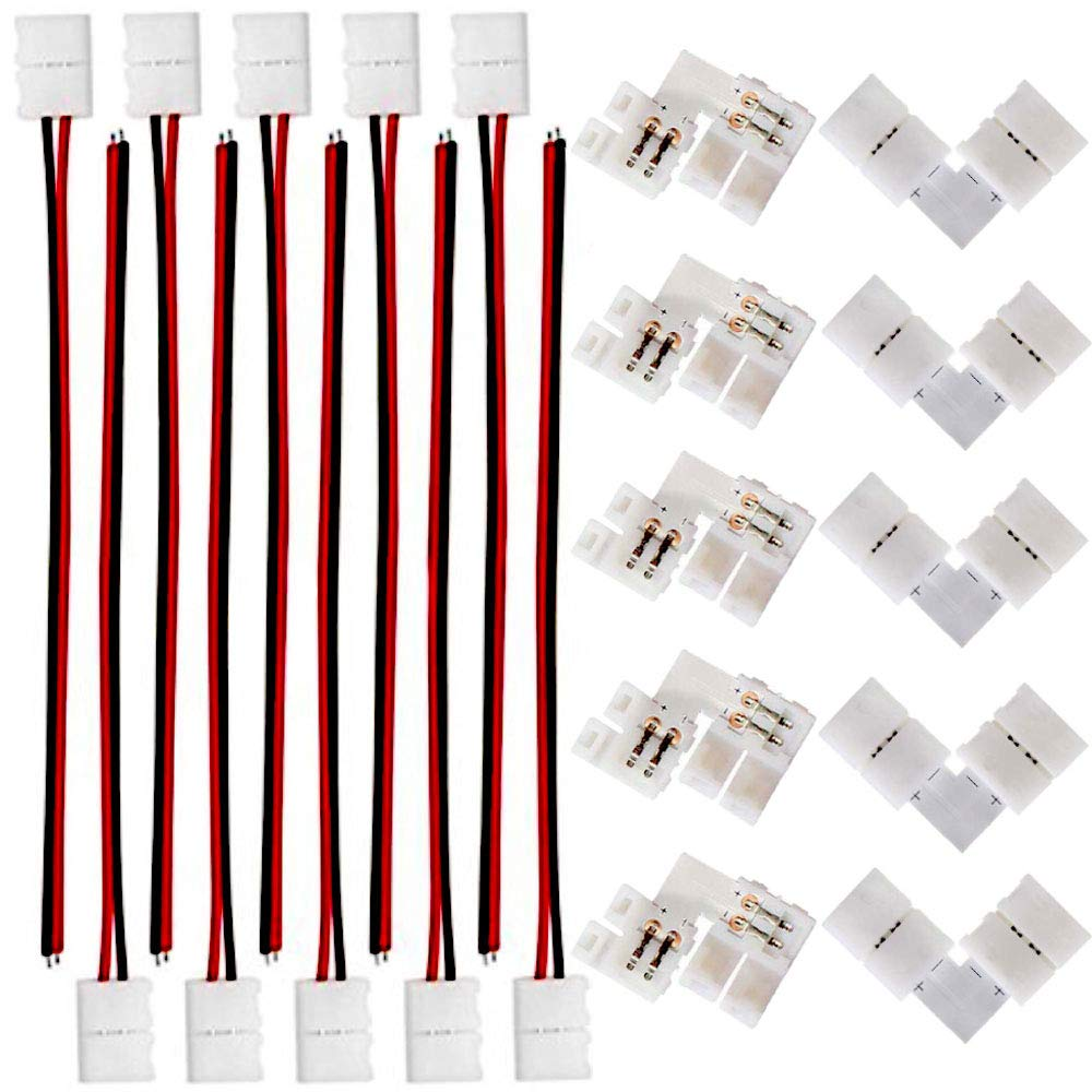 FSJEE 8mm 3528/2835 LED Strip Light Connectors Kits with 10PCS L Shape 2 Pin Right Angle Corner Solderless Connector and 10PCS 2 Pin 8mm Wide LED Solderless Connect Wire for 2835 Single Color Strips