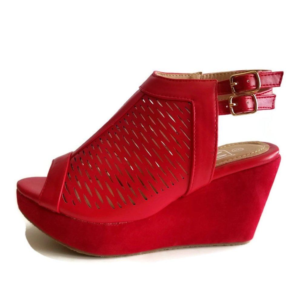 Maker's Gera 39 Women's Wedge Shoes B07CVRMRNV 10 M US|Red