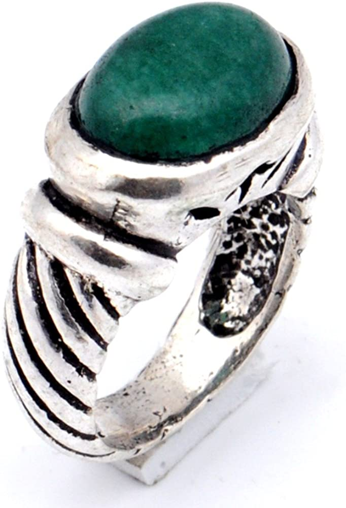 Green Dyed Emerald Oxidized Sterling Silver Overlay Ring Size 6.75 US Handmade Jewelry Fantasy