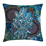 Ethnic Throw Pillow Cushion Cover by Ambesonne, Elephant Figure with Third Eye Symbol Ornaments Mystical Universe Swirls Boho Image, Decorative Square Accent Pillow Case, 20 X 20 Inches, Blue Brown