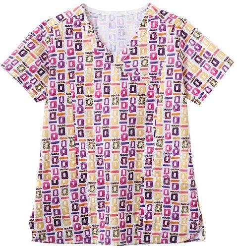 Shirttail Scrub (Bio Women's Mock Wrap Geometric Pop Art Purple Print Scrub Top X-Large Print)