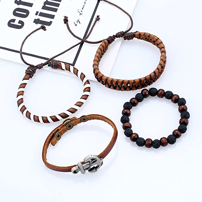 Bracelets & Bangles bl003147 Jewelry & Accessories Supply Lureme Vintage Wood Beads Ethnic Tribal Anchor Bracelets Multi Layer Leather Wrap Bracelet
