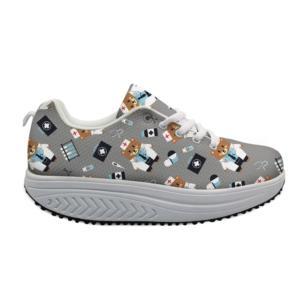 Fashion Cartoon Cartoon Fashion Bear Printing Fitness Walking Sneaker Casual Women's Wedges Platform Shoes B079QKK4BY Walking 93fcd6