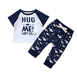 for 6-12 Months Boys Outfits Set, Toddler Kids Boys Letter Tops Shark Cartoon Print Pants Outfits Summer Clothes