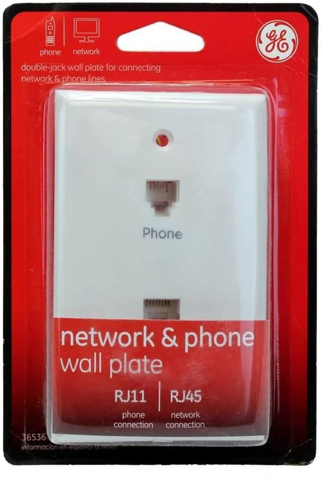 Amazon.com: GE Network & Phone Jack Wall Plate Duplex Modular RJ45 and  RJ11-36536: ElectronicsAmazon.com
