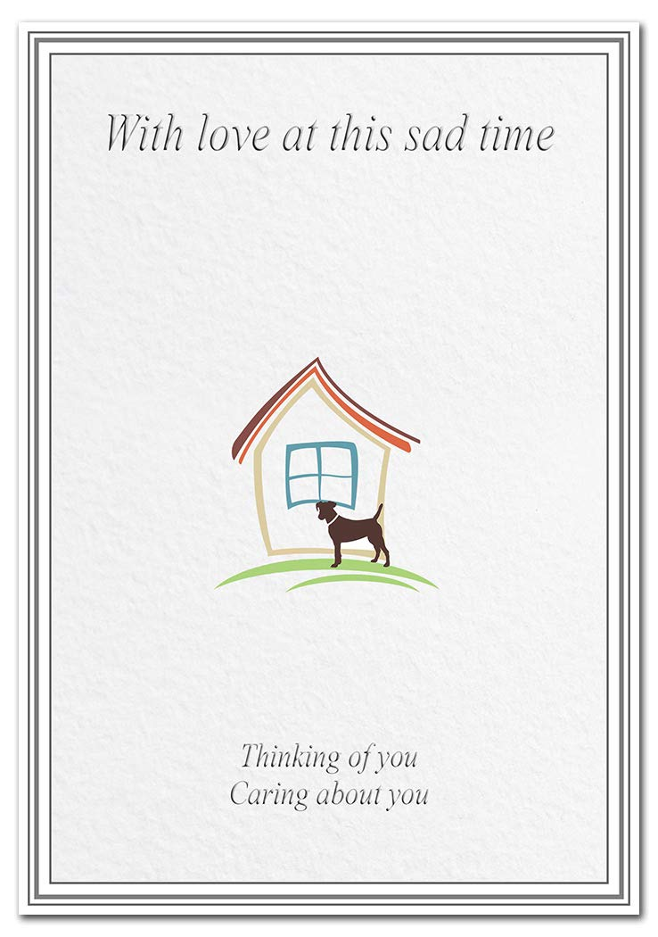 Caring Words on Death of a Loyal Dog Loss of Furry Friend Loving Memory Condolence Sympathy Card for Dogs Dog Bereavement Cards Best Quality Blank Dog by House Simple Line Art Theme